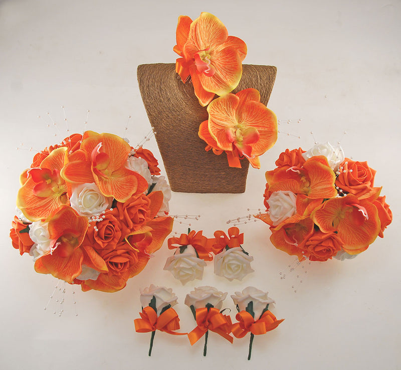 Orange Roses, Orchids and Ivory Foam Rose, Tropical Wedding Flower Package with Brides Bouquet, Bridesmaids Posy, Grooms Buttonhole, Hair Comb & Guest Buttonholes