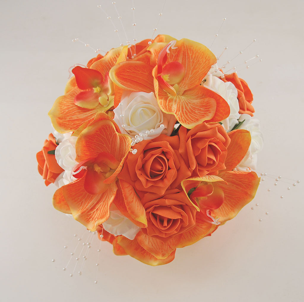 Orange Roses Orchids And Ivory Foam Rose Tropical Wedding Flower