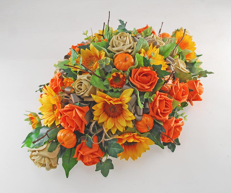 Orange Silk Sunflower, Rose & Pumpkin Top Table Wedding Arrangement