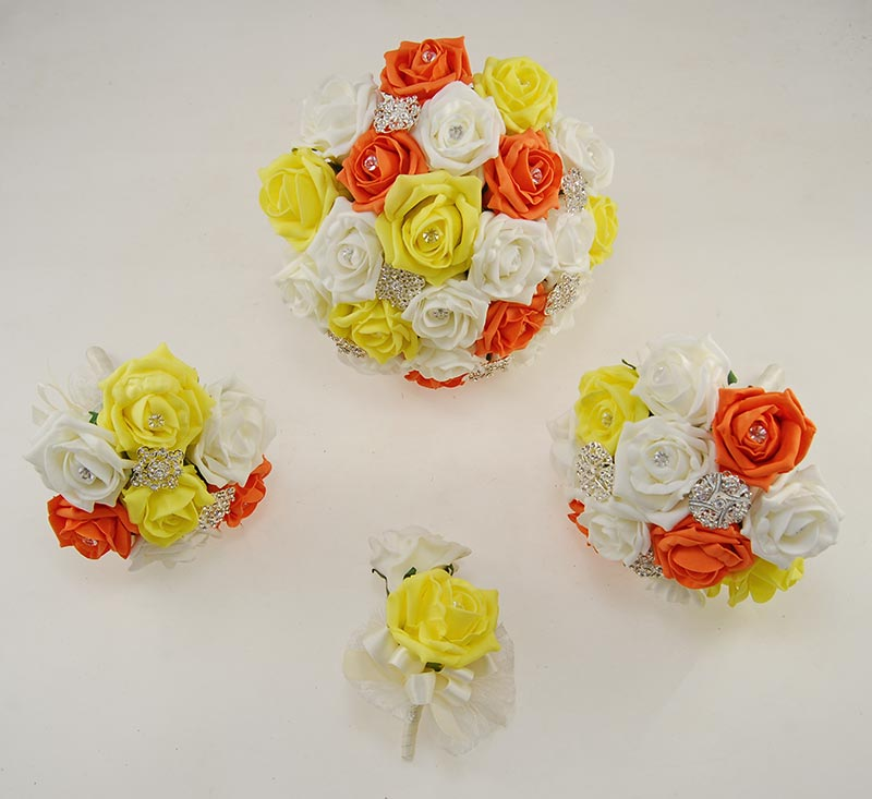 Orange & Yellow Foam Rose Classic Diamante Brooch Wedding Flower Package