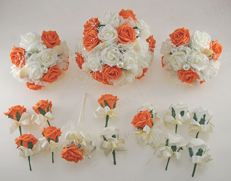 Orange & Ivory Foam Rose, Seashell and Pearl Wedding Flower Package with Brides Bouquet, Bridesmaids Posies, Grooms, Mothers, Guest Buttonholes