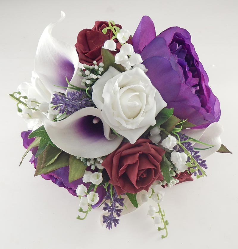 Purple Peony, Calla Lily, Burgundy & Ivory Rose Phoebe Wedding Flower Package