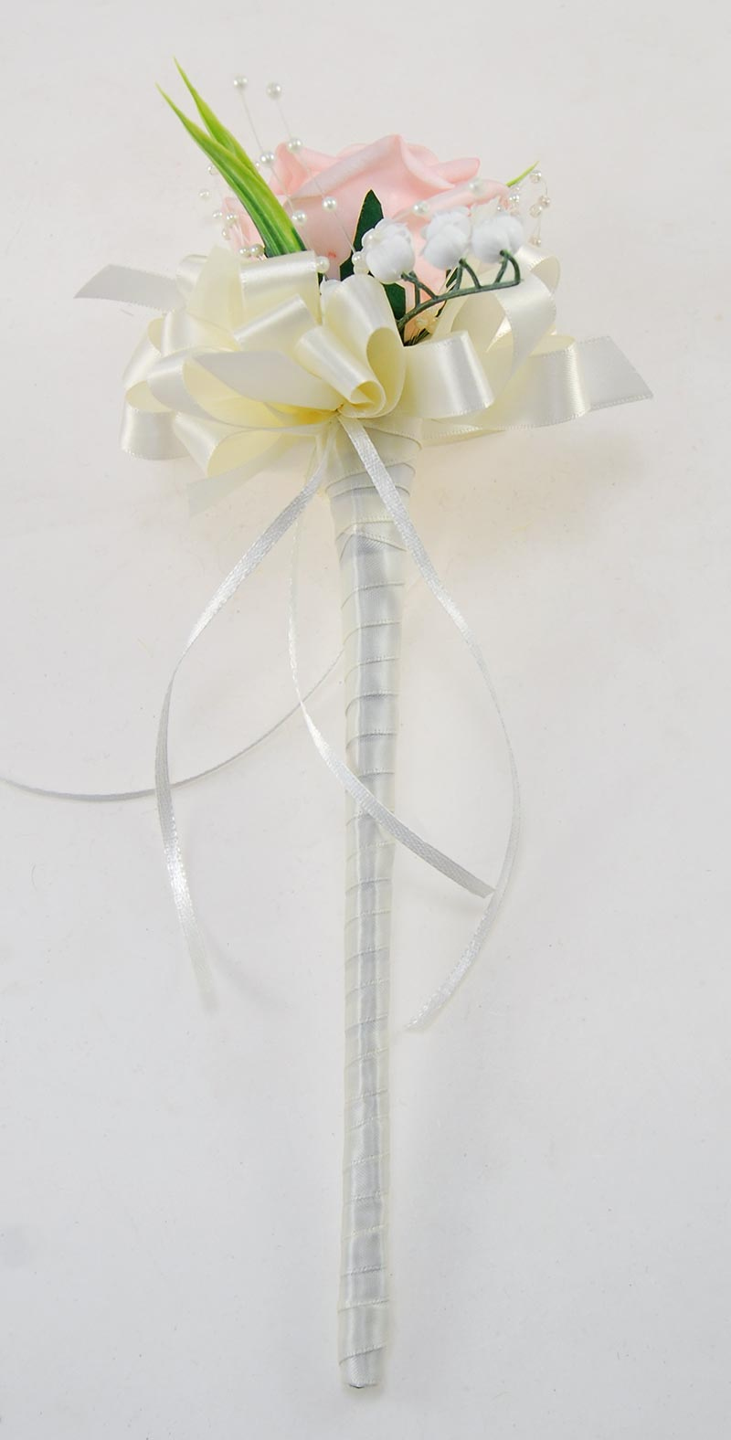 Pale Pink Diamante Rose, Lily of the Valley, Pearl Flower Girl Wand