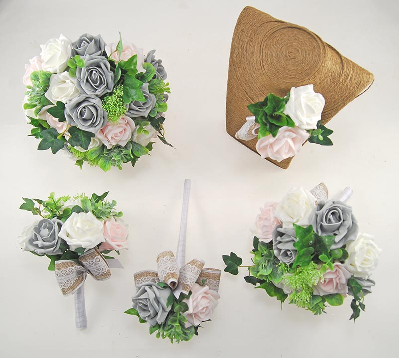 Pale Pink, Ivory & Dark Grey Rose, Hessian Lace Ribbon Amber Wedding Flower Package