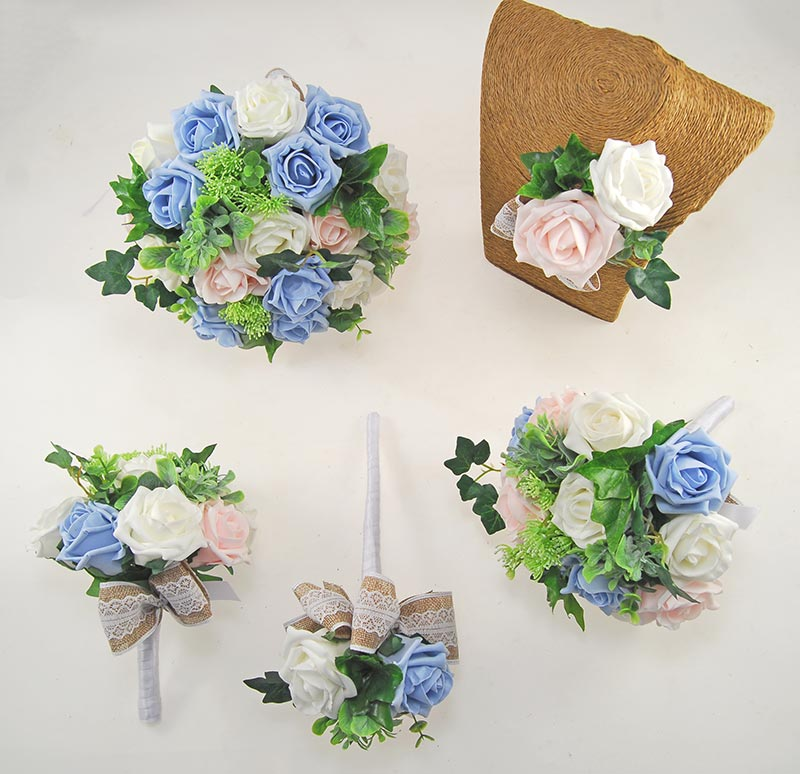 Pale Pink, Ivory & Light Blue, Hessian Lace Ribbon Amber Wedding Flower Package