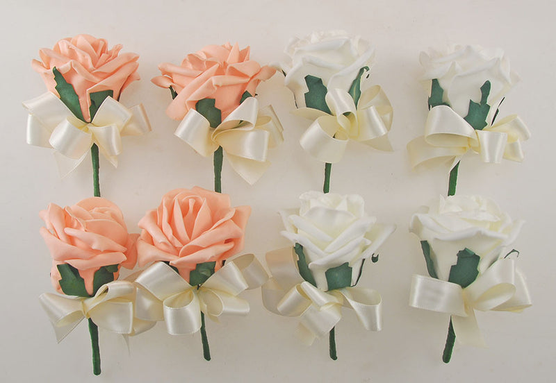 Peach, Coral Pink and Ivory Foam Rose, Seashell and Pearl Wedding Flower Package with Brides Bouquet, Bridesmaids Posies, Grooms, Mothers, Guest Buttonholes