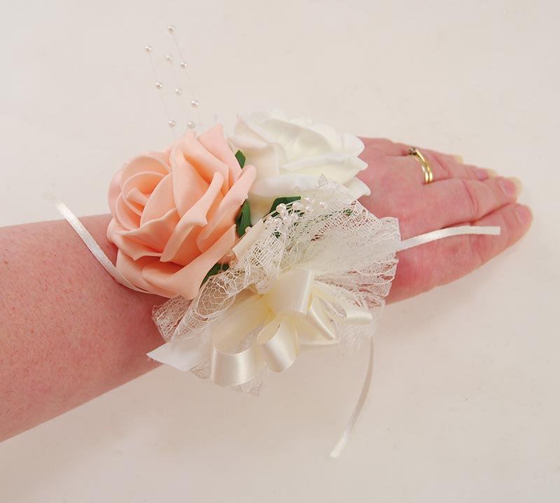 Peach & Ivory Rose, Lace, Pearl Wrist Band Wedding Corsage