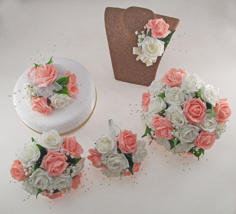 Peach & Ivory Rose Lucy Wedding Flower Package, With Gold Pearls & Dragonfly Charm