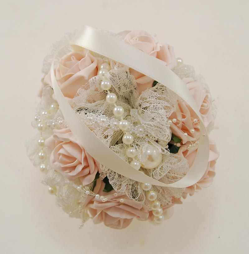 Pearl, Lace & Mocha Pink Foam Rose Pomander Flower Ball