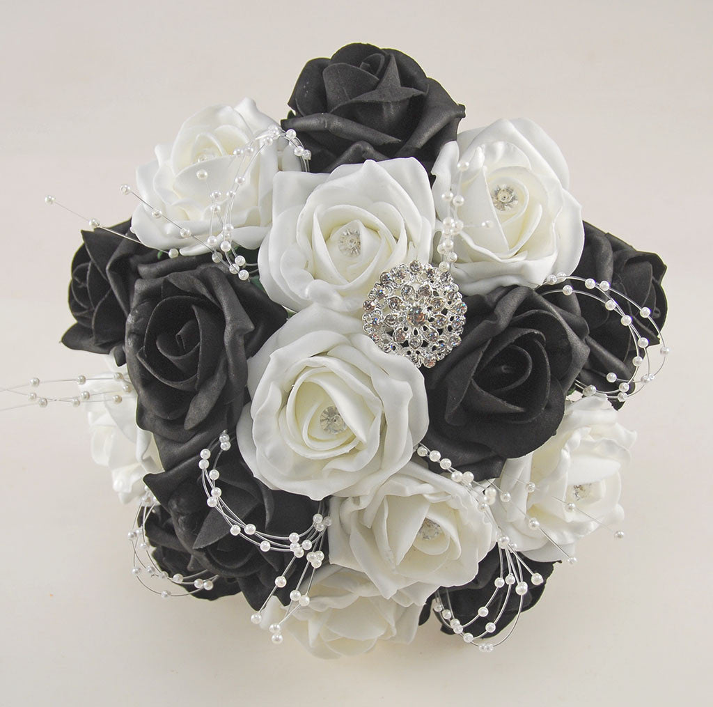 Black and white diamante foam rose and brooch wedding flower package black and white diamante foam rose and brooch wedding flower package with brides bouquet bridesmaids posies grooms buttonhole mightylinksfo