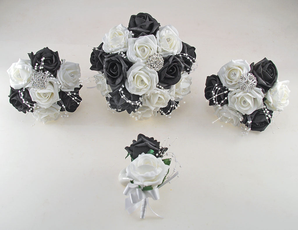 Black And White Diamante Foam Rose And Brooch Wedding Flower Package