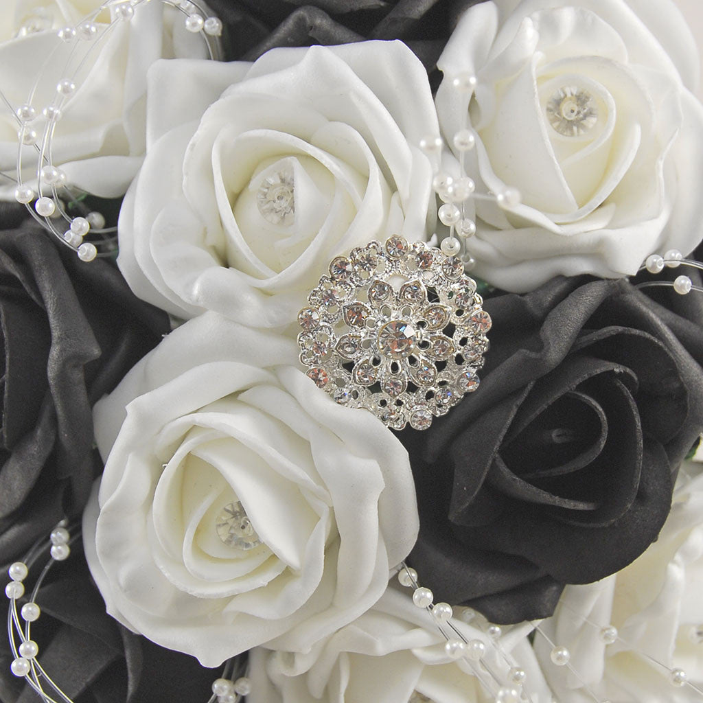 black and white diamante foam rose and brooch wedding flower package w budget wedding flowers. Black Bedroom Furniture Sets. Home Design Ideas