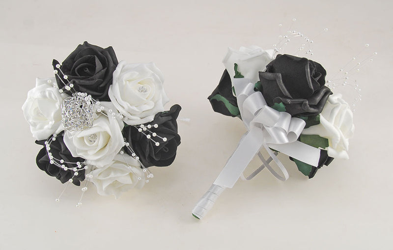 Black and White Diamante Foam Rose and Brooch Wedding Flower Package with Brides Bouquet, Bridesmaids Posies, Grooms Buttonhole