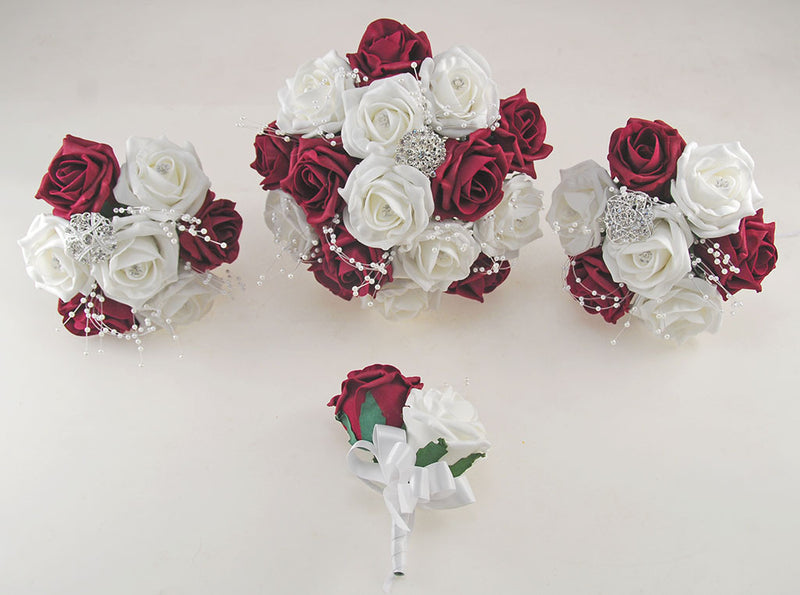 Burgundy and White Diamante Foam Rose and Brooch Wedding Flower Package with Brides Bouquet, Bridesmaids Posies, Grooms Buttonhole