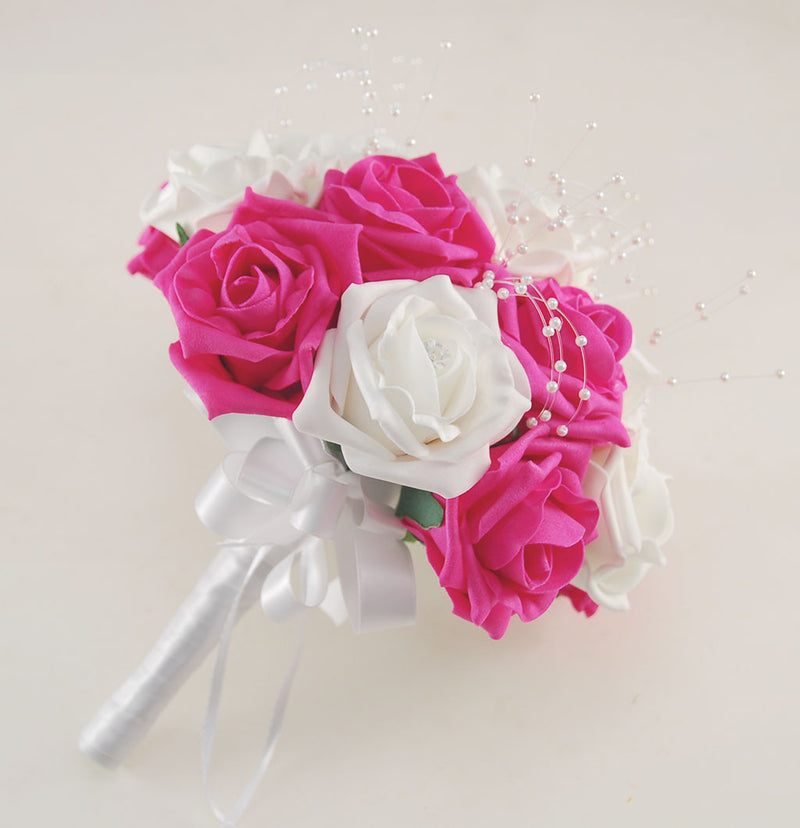 Cerise Pink and White Diamante Foam Rose and Brooch Wedding Flower Package with Brides Bouquet, Bridesmaids Posies, Grooms Buttonhole