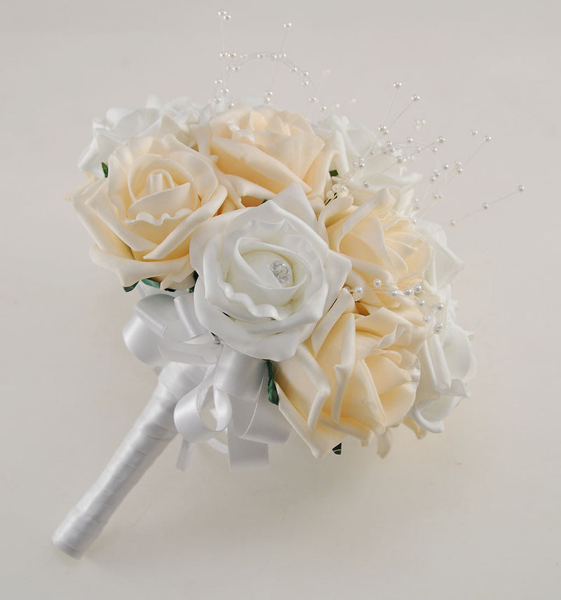 Champagne and White Diamante Foam Rose and Brooch Wedding Flower Package with Brides Bouquet, Bridesmaids Posies, Grooms Buttonhole