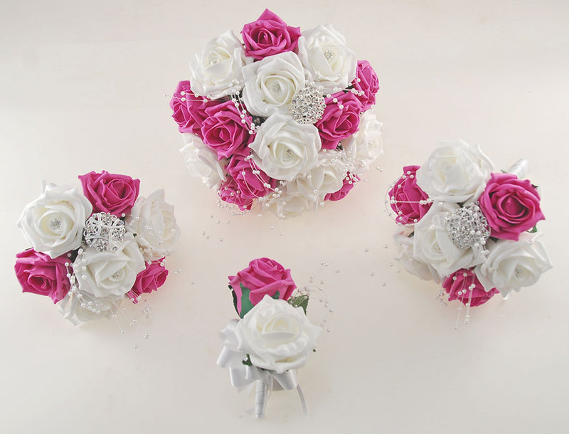 Dark Pink and White Diamante Foam Rose, Brooch Wedding Flower Package with Brides Bouquet, Bridesmaids Posies, Grooms Buttonhole