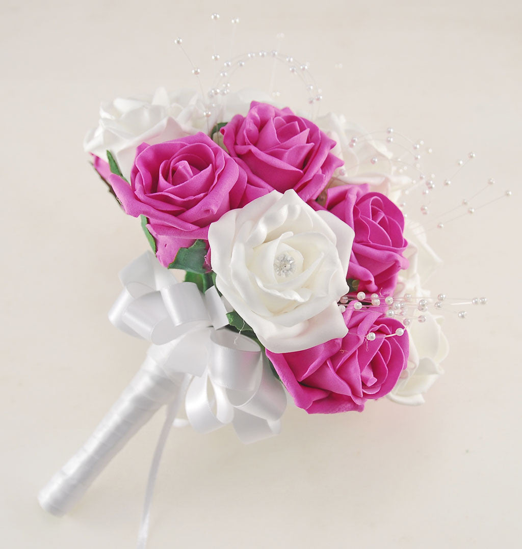 Dark Pink Wedding Flowers: Dark Pink And White Diamante Foam Rose, Brooch Wedding