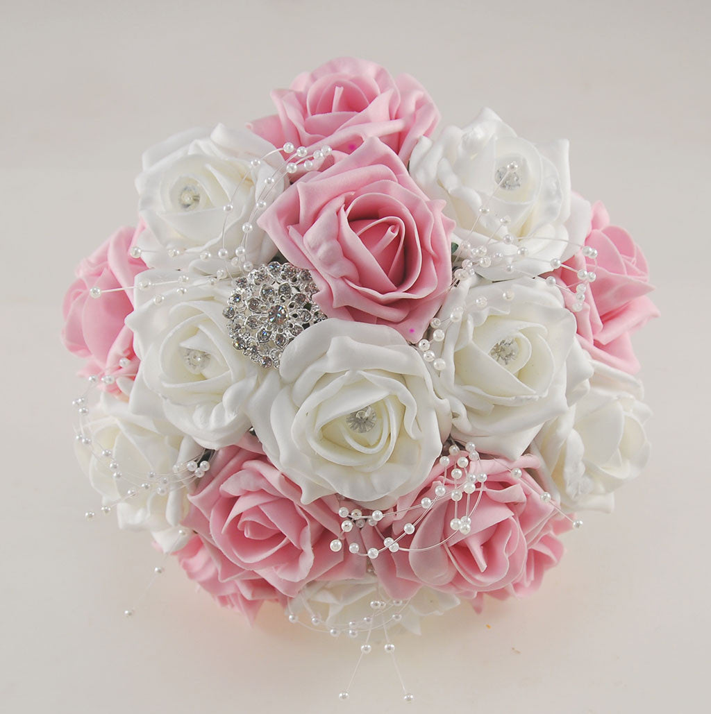 Dusky Pink And White Diamante Foam Rose And Brooch Wedding Flower Pack Budget Wedding Flowers