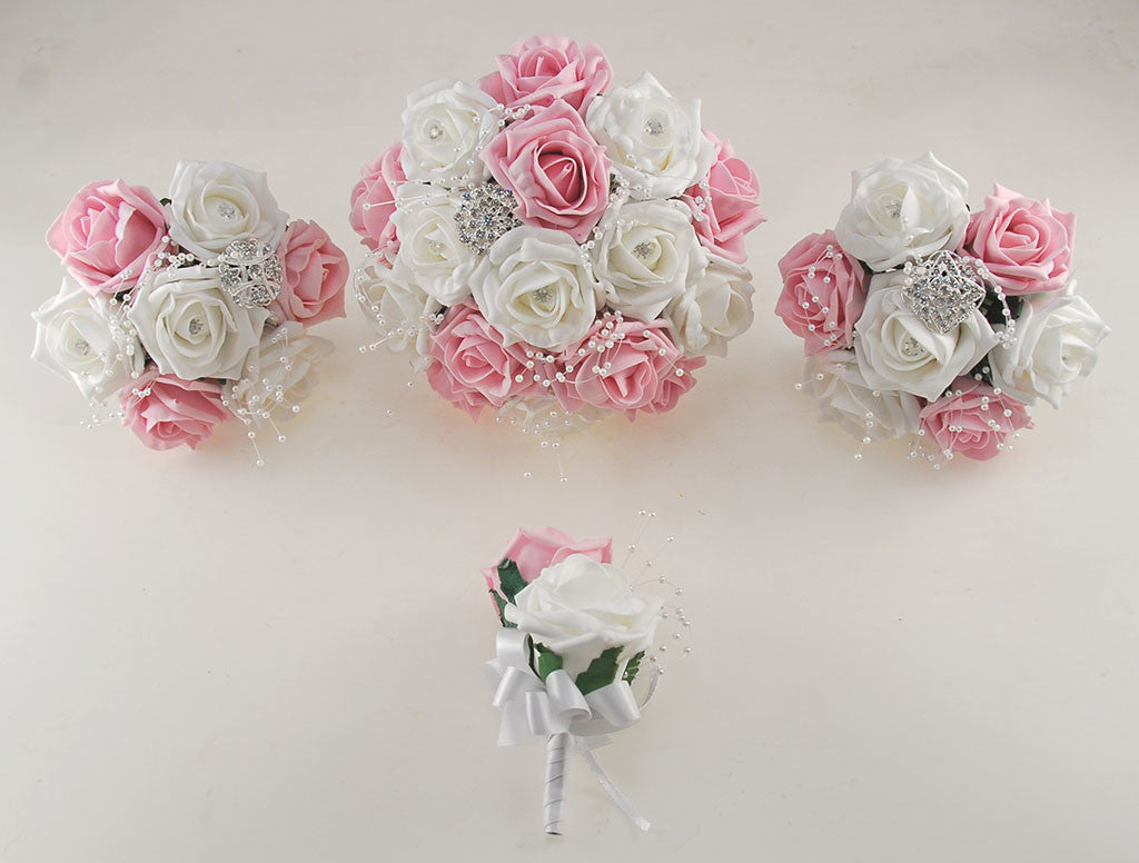 Dusky Pink And White Diamante Foam Rose And Brooch Wedding Flower