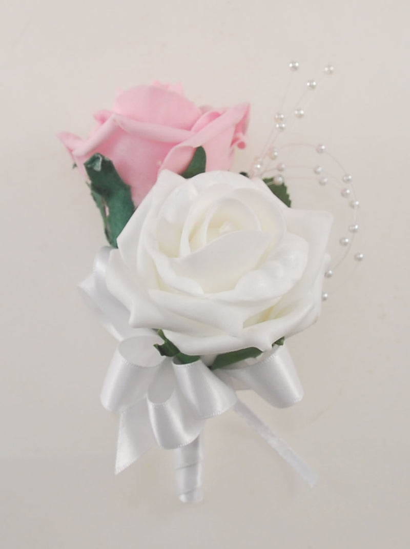 Dusky Pink and White Diamante Foam Rose and Brooch Wedding Flower Package with Brides Bouquet, Bridesmaids Posies, Grooms Buttonhole