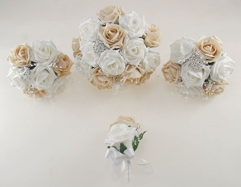 Mocha and White Diamante Foam Rose and Brooch Wedding Flower Package with Brides Bouquet, Bridesmaids Posies, Grooms Buttonhole