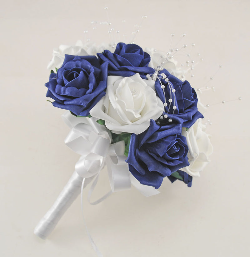 Navy Blue and White Diamante Foam Rose and Brooch Wedding Flower Package with Brides Bouquet, Bridesmaids Posies, Grooms Buttonhole