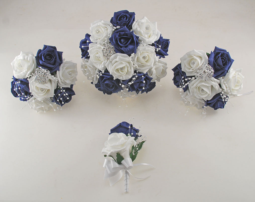 Navy Blue And White Diamante Foam Rose And Brooch Wedding Flower