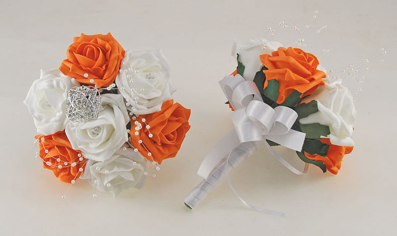 Orange and White Diamante Foam Rose and Brooch Wedding Flower Package with Brides Bouquet, Bridesmaids Posies, Grooms Buttonhole