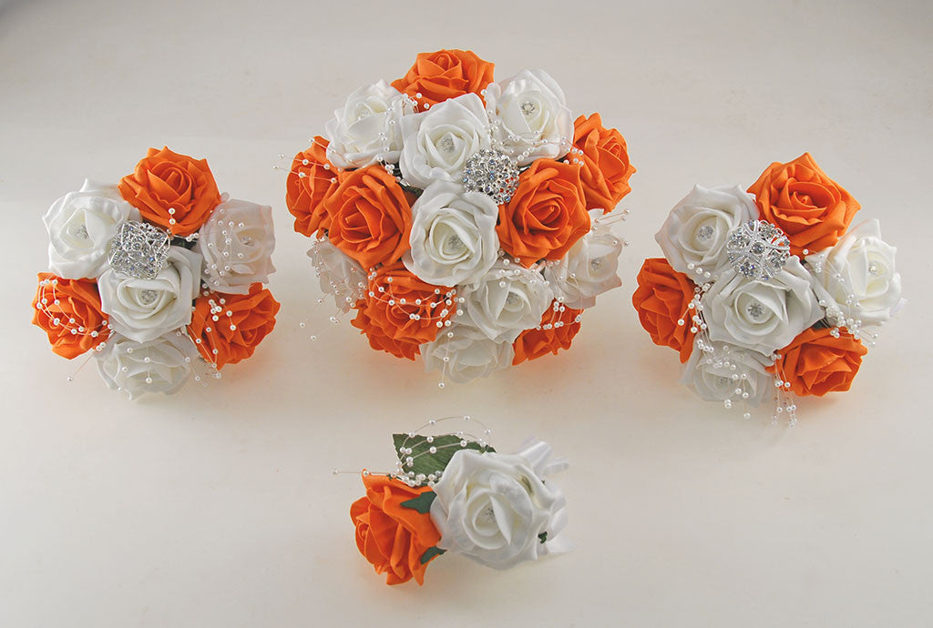 Orange and white diamante foam rose and brooch wedding flower orange and white diamante foam rose and brooch wedding flower package with brides bouquet bridesmaids posies grooms buttonhole mightylinksfo