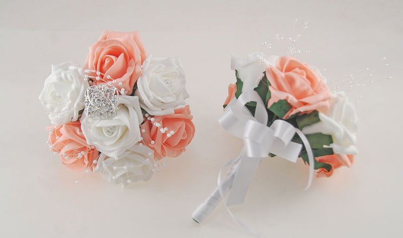 Peach and White Diamante Foam Rose and Brooch Wedding Flower Package with Brides Bouquet, Bridesmaids Posies, Grooms Buttonhole