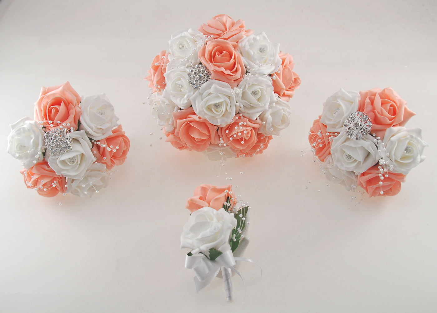 Peach And White Diamante Foam Rose And Brooch Wedding Flower Package