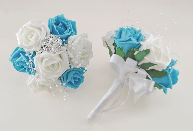 Turquoise and White Diamante Foam Rose, Brooch Wedding Flower Package with Brides Bouquet, Bridesmaids Posies, Grooms Buttonhole