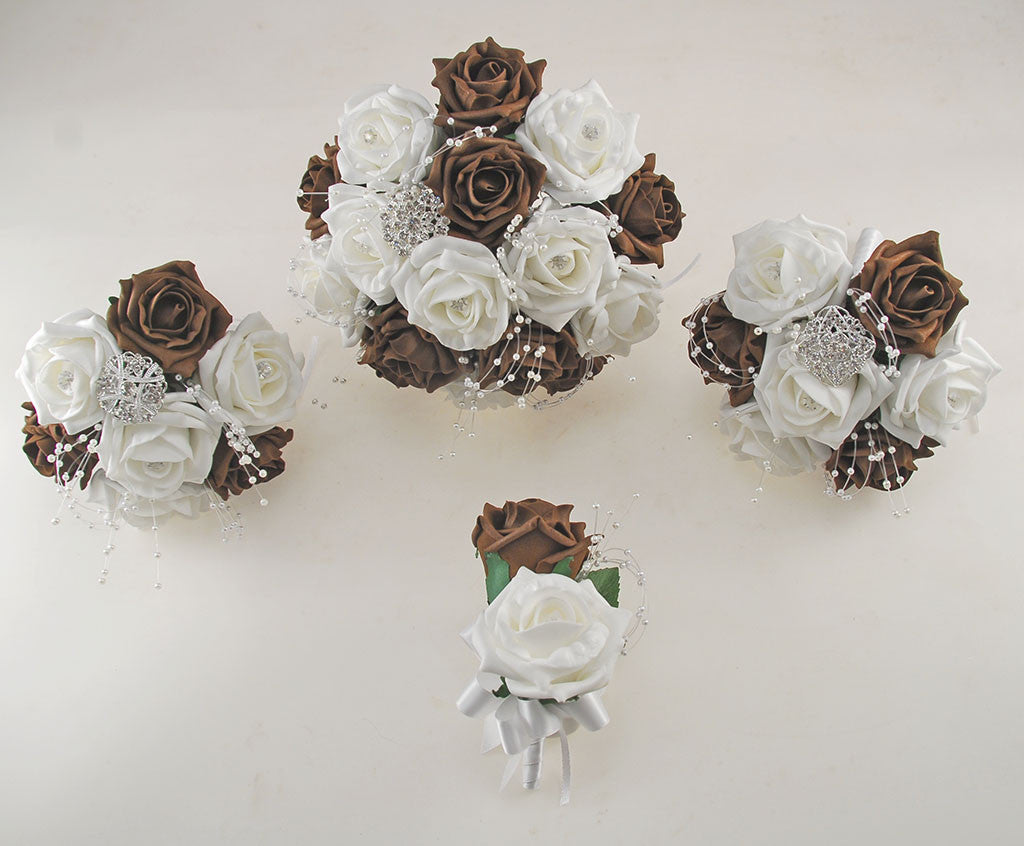 Brown And White Diamante Foam Rose And Brooch Wedding Flower Package
