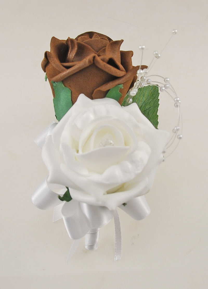 Brown and White Diamante Foam Rose and Brooch Wedding Flower Package with Brides Bouquet, Bridesmaids Posies, Grooms Buttonhole