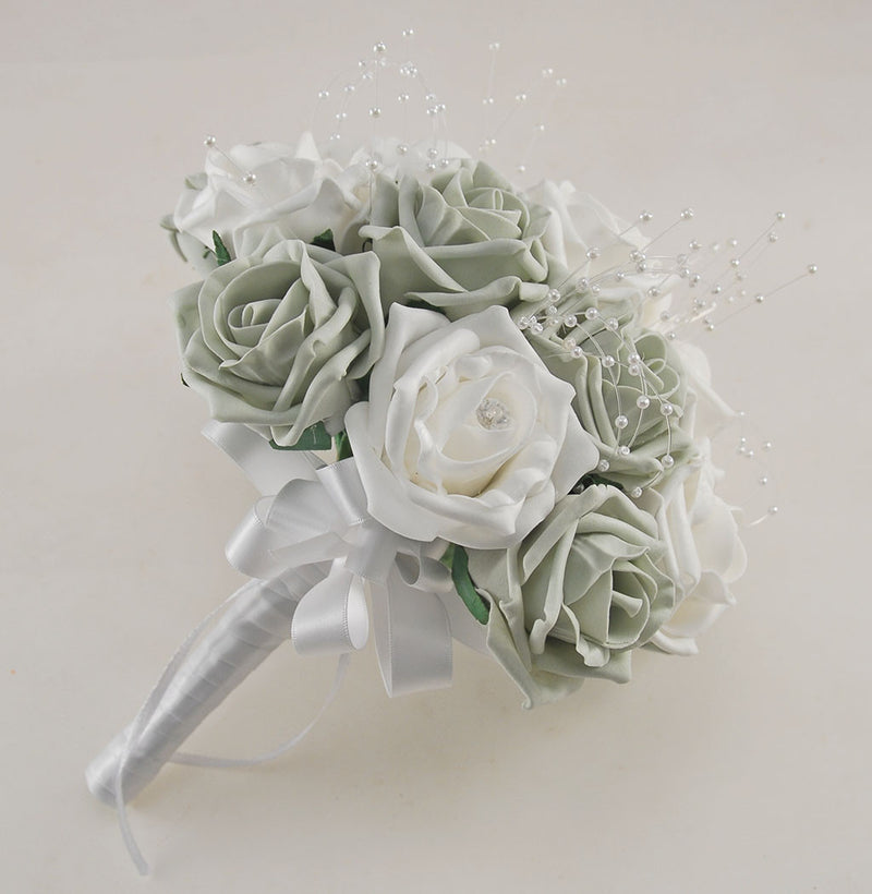 Grey and White Diamante Foam Rose and Brooch Wedding Flower Package with Brides Bouquet, Bridesmaids Posies, Grooms Buttonhole