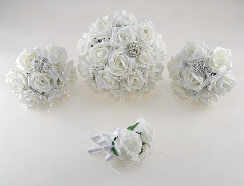 White Diamante and Brooch Foam Rose Wedding Flower Package with Brides Bouquet, Bridesmaids Posies, Grooms Buttonhole