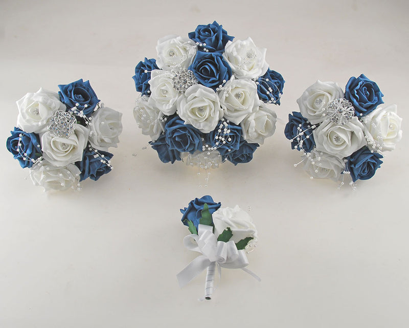 Teal and White Diamante Foam Rose and Brooch Wedding Flower Package with Brides Bouquet, Bridesmaids Posies, Grooms Buttonhole