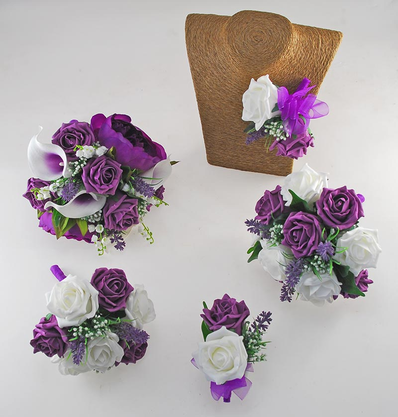 Phoebe Purple Peony, Calla Lily, Ivory & Purple Rose Wedding Flower Package