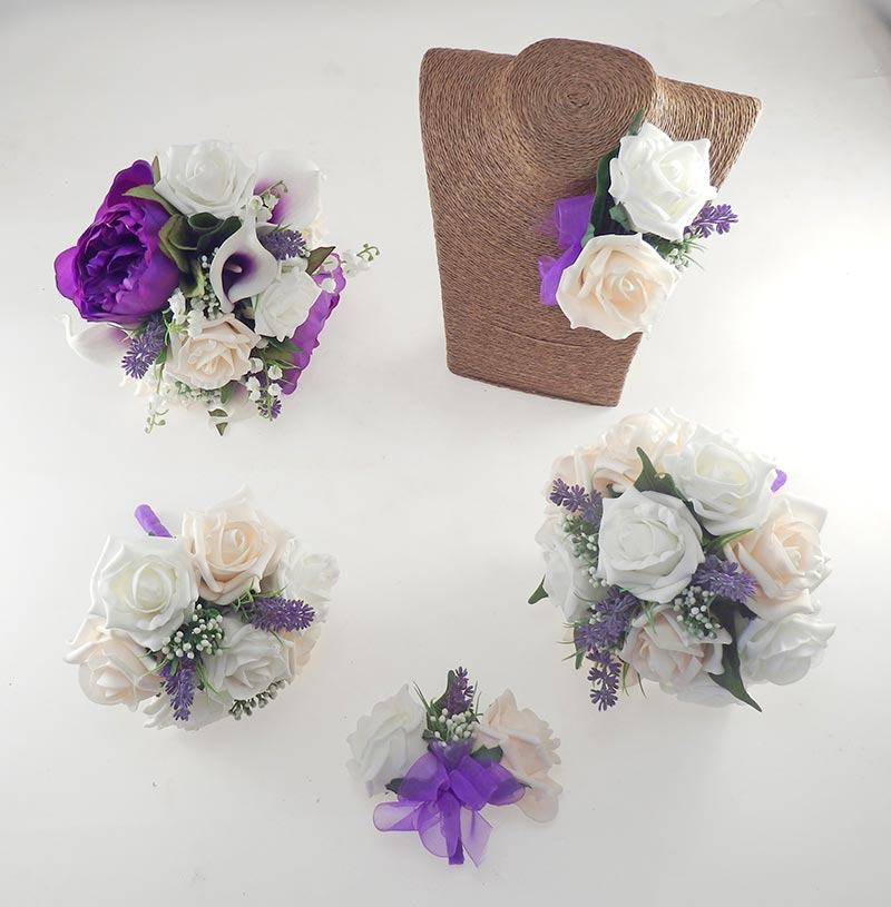 Purple Peony, Calla Lily, Cream & Ivory Rose Phoebe Wedding Flower Package