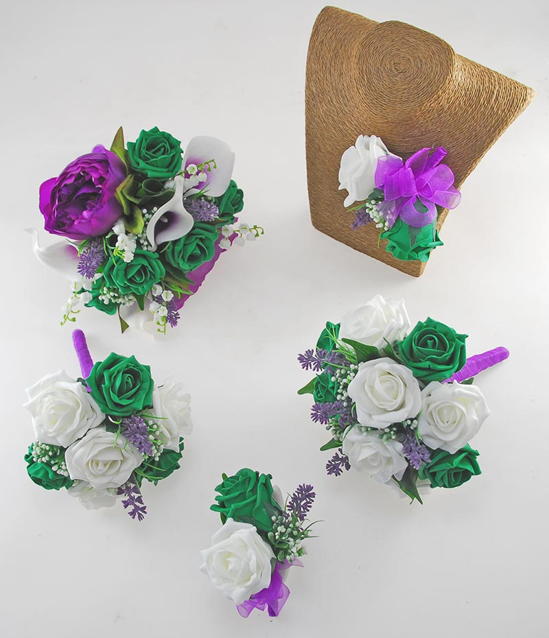 Phoebe Purple Peony, Calla Lily, Ivory & Emerald Green Rose Wedding Flower Package