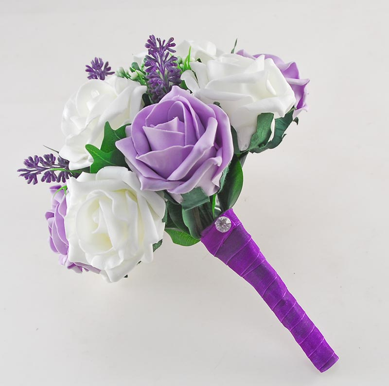 Phoebe Purple Peony, Calla Lily, Ivory & Lilac Rose Wedding Flower Package
