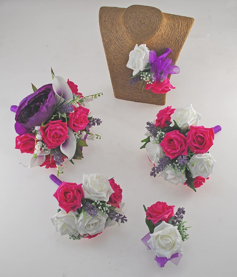 Phoebe Purple Peony, Calla Lily, Ivory & Cerise Pink Rose Wedding Flower Package