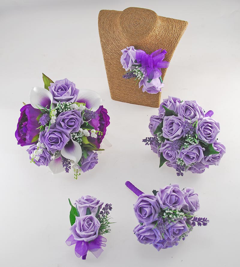 Phoebe Purple Peony, Calla Lily & Lilac Rose Wedding Flower Package