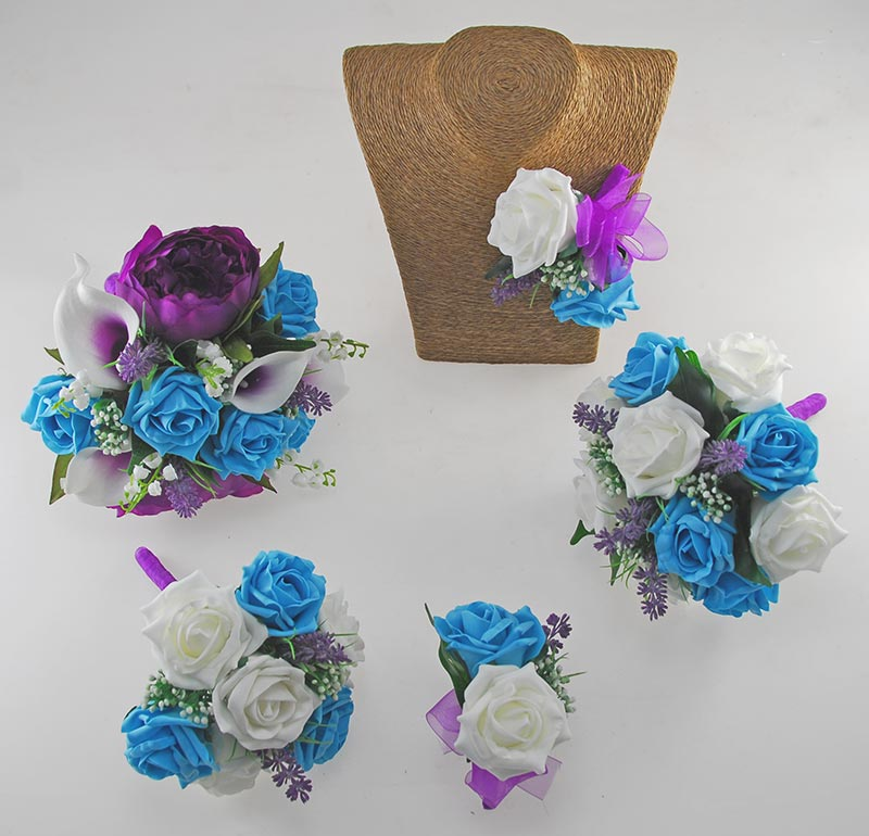 Phoebe Purple Peony, Calla Lily, Ivory & Turquoise Rose Wedding Flower Package