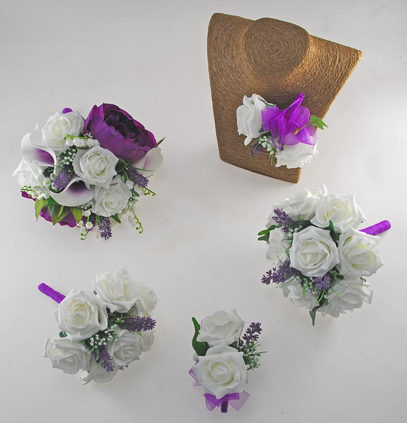 Phoebe Purple Peony, Calla Lily & Ivory Rose Wedding Flower Package