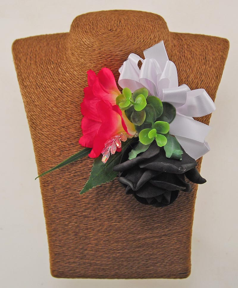 Pink Helleborus, Black & Ivory Rose Bella Wedding Flower Package