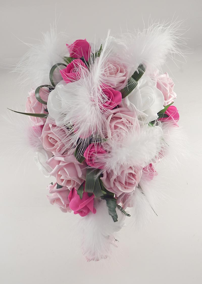 Pink Diamante Rose & White Feather Bridal Shower Bouquet