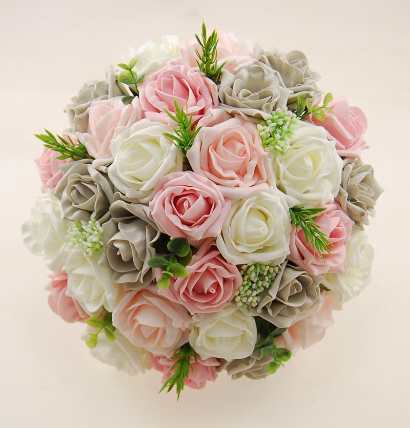 Pink, Grey Rose Bridal Bouquet with Rosemary and Gypsophila