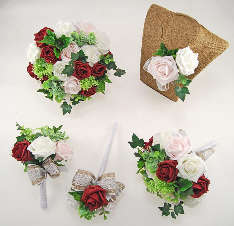 Pale Pink, Ivory & Burgundy Rose, Hessian Lace Ribbon Amber Wedding Flower Package